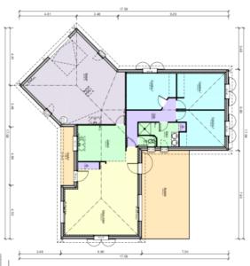 Plan maison de plain pied en forme de Y