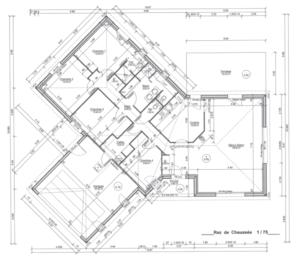 Plan d'une maison de plain pied