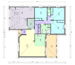 Plan maison plain pied forme T