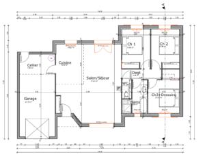 Plan d'un pavillon de plain pied 95 m2 Haute-Vienne